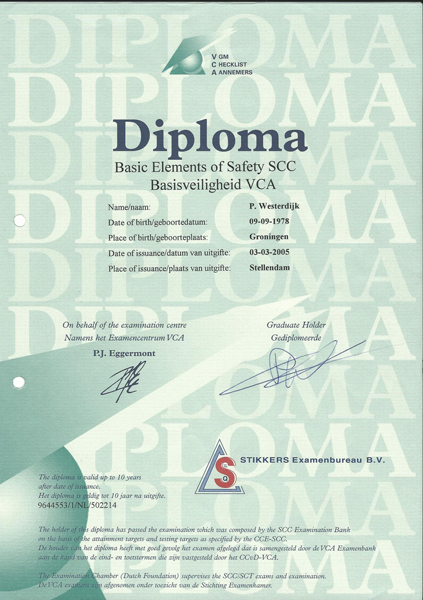 certificaat saferty elements